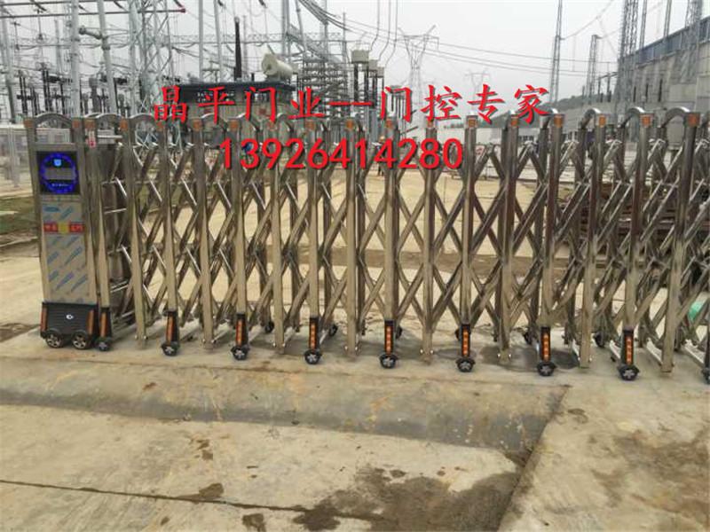 广西柳州高压变电站不锈钢伸缩门案例